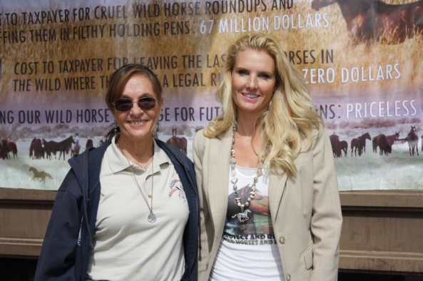 Marjorie Farabee and Simone Netherlands were two of the protesters at the BLM Wild Horse Advisory Board meeting today at CWC. (Ernie Over photo)