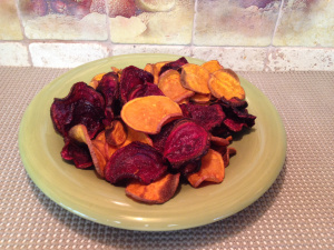 Baked Beets and Sweet Potato Chips