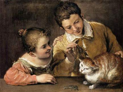 Two Children Teasing a Cat Annibale Carracci (Italian, Bologna 1560–1609 Rome)  Why do some people pull the wings off butterflies, toss firecrackers at cats, shoot the neighbors' dogs with BB guns (or torture cats with crayfish)? The Dark Triad consists of three personality characteristics—narcissism, Machiavellianism, and psychopathy.  You can see it in the painting. Look at the little girl's smile as she watches the boy torture the car with a crayfish.