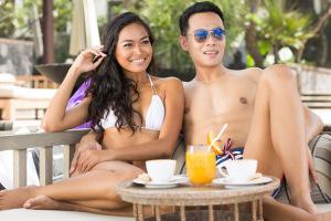 happy romantic couple outdoors
