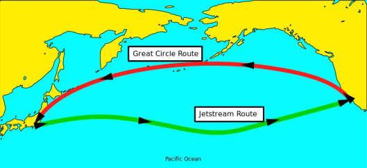 Jet Stream Great Circle Route Public Domain via wikimedia