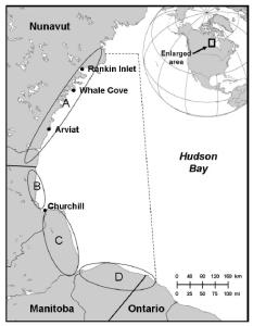 Lunn et al. 2013, 2014. Map of study area.