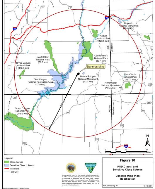 Daneros mine distance from parks