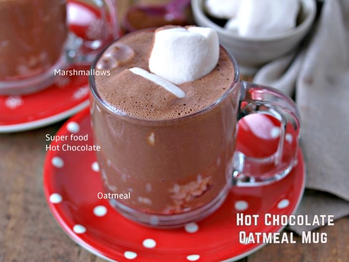 Superfood Hot Chocolate Oatmeal Mug - Vegan, Refined Sugar Free, Gluten Free