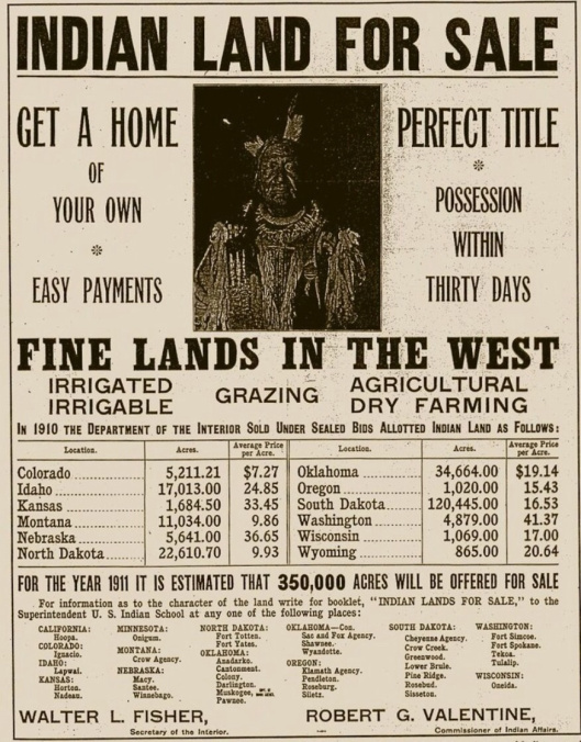 American Indian Land for sale 1911
