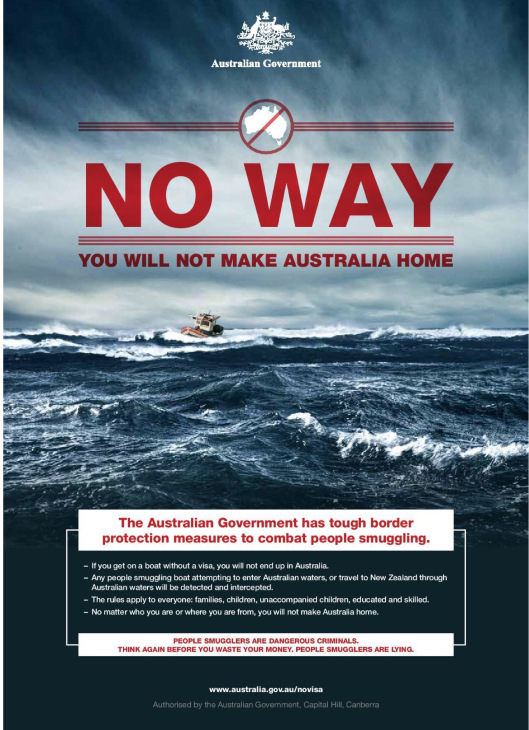 Australia Government Poster Warning Boat People not to come, Creative Commons
