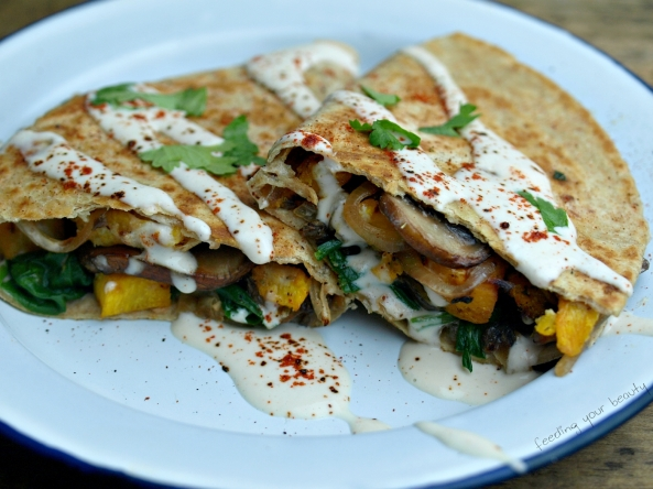 Roasted Pumpkin Quesadilla with Ancho Cashew Cream