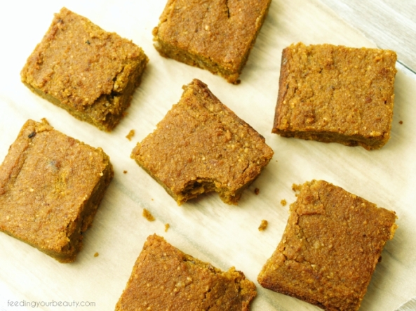 Pumpkin Spice Blondies - Vegan, Grain Free, Gluten Free, Refined Sugar Free, Egg Free Dairy Free