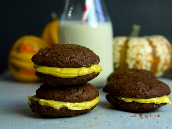 Pumpkin Filled Gingerbread Whoopie Pies